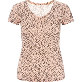 super.natural Base Print 140 Camiseta Cuello en V Mujer, rosa/negro